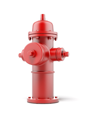 red fire hydrant isolated on a white background. 3d render photo