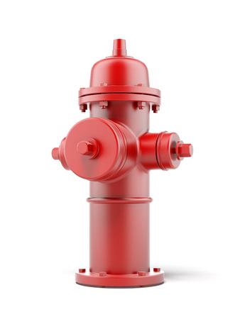 borne fontaine: rouge bouche d'incendie isolé sur un fond blanc. Rendu 3d Banque d'images
