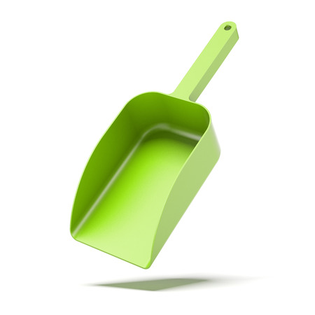 stainles steel: green showel isolated on a white background. 3d render