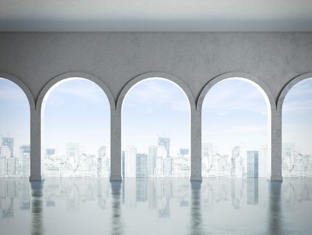 interior with white columns and city. 3d render photo