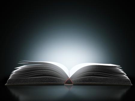 libro abierto con la luz mágica aislado en un fondo negro. 3d