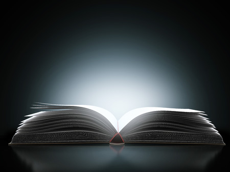 bible book:  open book with magic light  isolated on a black background. 3d render Stock Photo