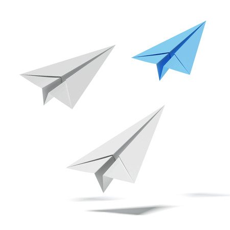 airport symbol: Blue paper airplane with white paper airplanes isolated on a white background. 3d render