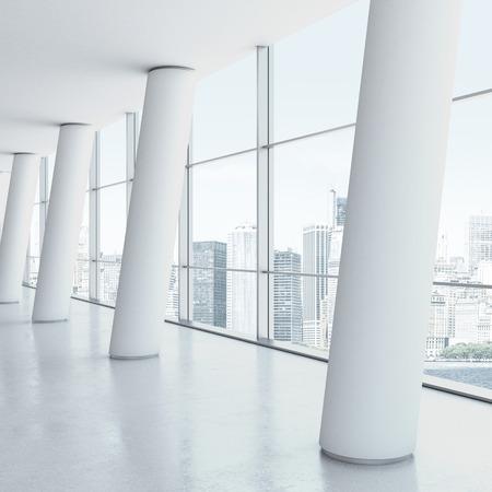 Weiß Büro-Interieur mit Säulen. 3d render Standard-Bild