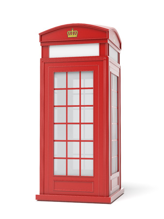 telephone booth: British red phone booth  isolated on a white background. 3d render