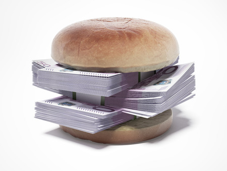 burger with euro bills isolated on a white background. 3d render photo