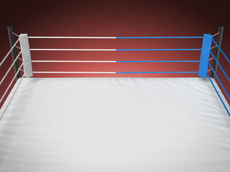 Boxing ring  solated on a red background. 3d render Stock Photo