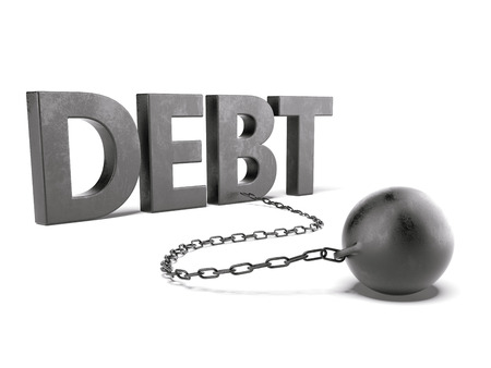 debt text with chain and weight isolated on a white background. 3d render photo