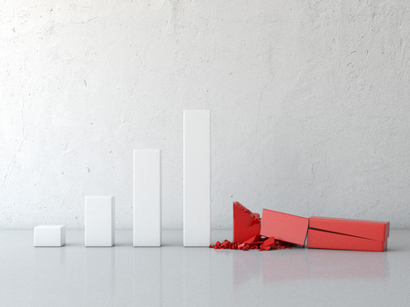meltdown: broken growth chart in interior isolated on a white background. 3d render