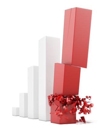 perdidas y ganancias: concepto de colapso financiero aislado en un fondo blanco. 3d