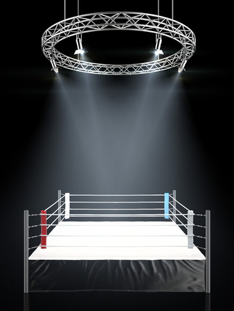 fight arena: Boxing ring in dark isolated on a black background. 3d render