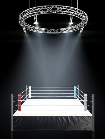 Boxring in dunklen isoliert auf einem schwarzen Hintergrund. 3D-Darstellung