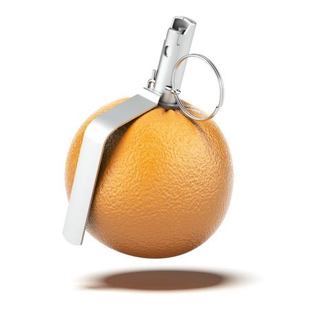 detonator: Orange with grenade detonator isolated on a white background. 3d render
