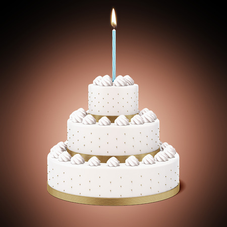 Birthday cake with candle isolated on a red background. 3d render photo