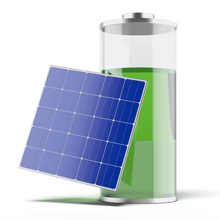 白い背景上に分離されて太陽電池パネルで充電。3 d のレンダリング 写真素材