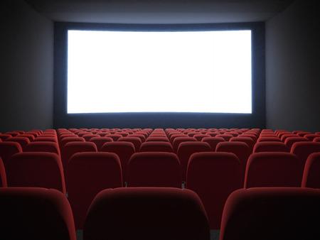 CINE: pantalla de cine con asientos Foto de archivo