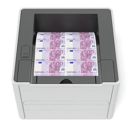 Printer with euro bills Stock Photo