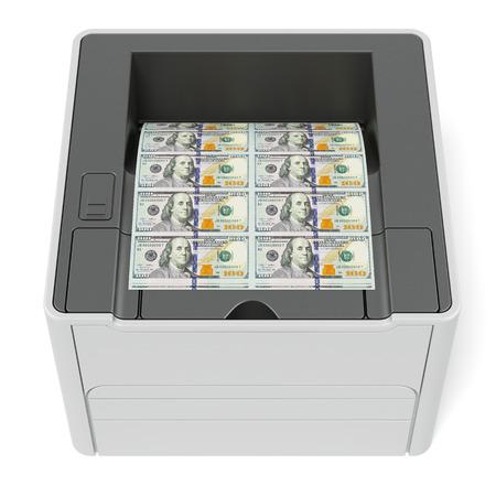 Printer with dollars photo