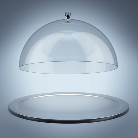 cloche: Silver tray with glass cover Stock Photo