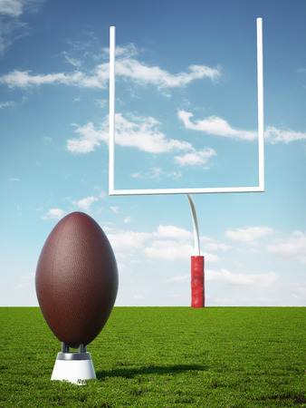 uprights: American Football with the Goal Posts Stock Photo
