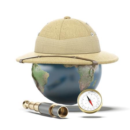 pith: Pith helmet on earth globe
