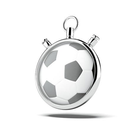 countdown timer: Stopwatch with soccer ball Stock Photo