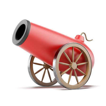 cannon gun: Red cannon Stock Photo