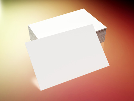 place card: Business cards on a colored background Stock Photo
