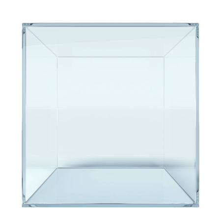 looking through an object: Empty glass cube