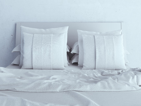 bedder: White pillows on a bed  Stock Photo
