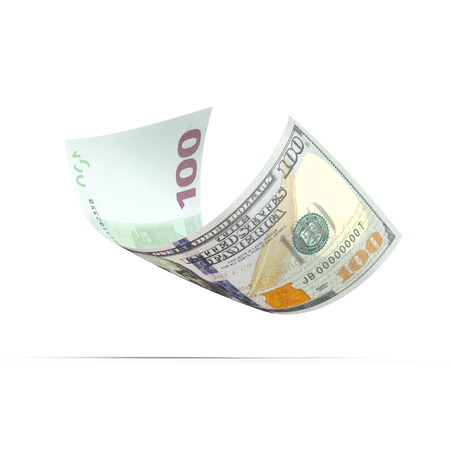 valorization: banknote with dollar and euro on different sides Stock Photo
