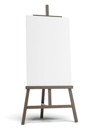 Dark easel with empty canvas  Imagens