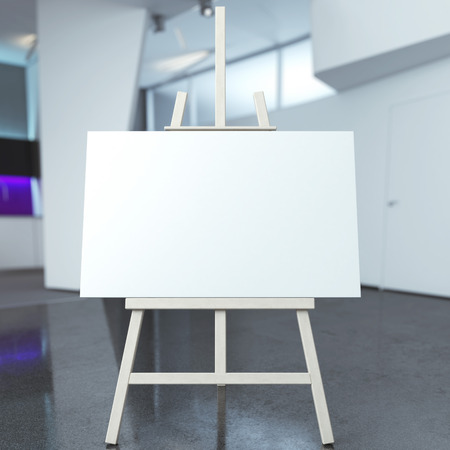 easel with empty canvas in modern interior photo