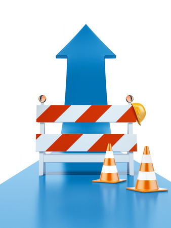 roadblock: Roadblock and blue arrow