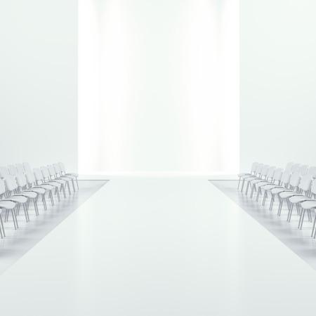 fashion catwalk: White fashion empty runway