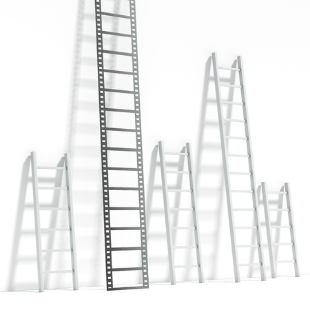 Ladder in the shape of a film Stock Photo