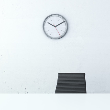 empty chair: Office interior with table, chair and clock Stock Photo