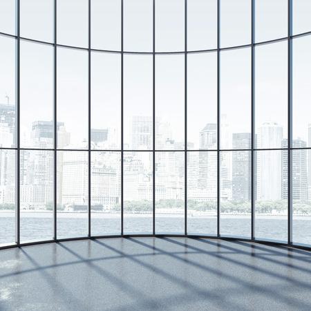 Round interior with large windows photo