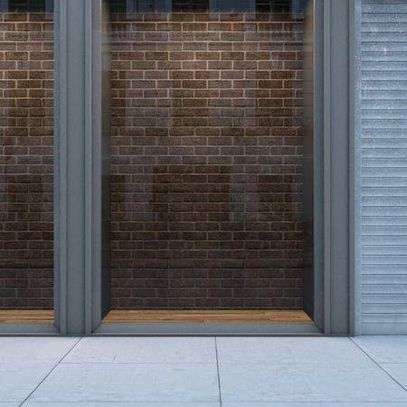 hollow walls: Empty storefront with brickwall