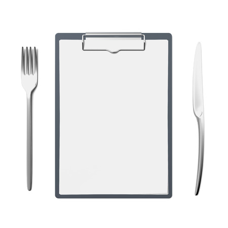 Clipboard with knife and fork photo