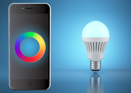 Multicolor LED bulb with remote control by phone photo