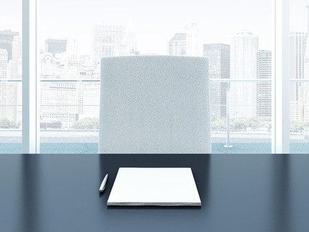 Office interior with table and blank sheets Stock Photo