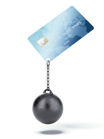 prison ball: Credit card with chain and weight