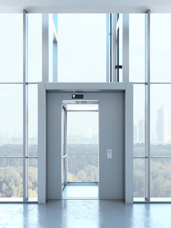 Transparent elevator in penthouse Stock Photo
