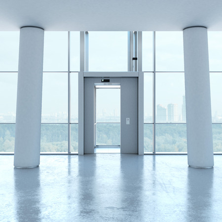 Transparent elevator and columns photo