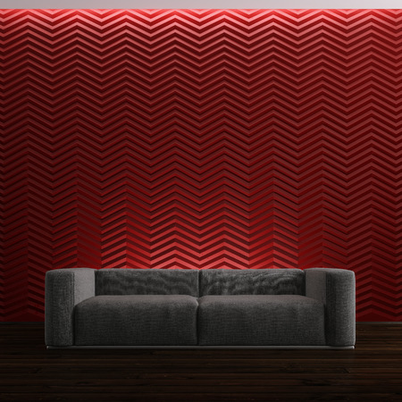 sofa on red background photo