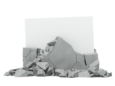 chunk: Broken concrete with paper inside