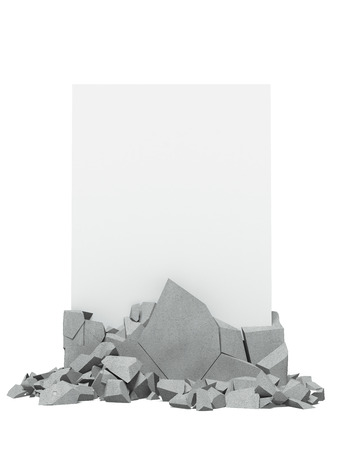 Broken concrete with paper photo