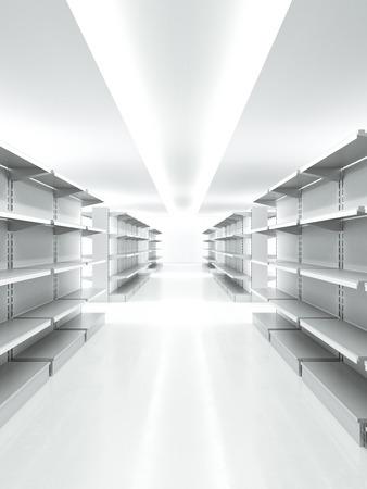 shelve: Empty retail shelves
