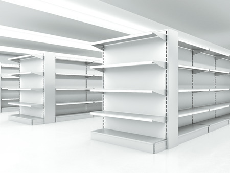 store front: white clean shelves Stock Photo